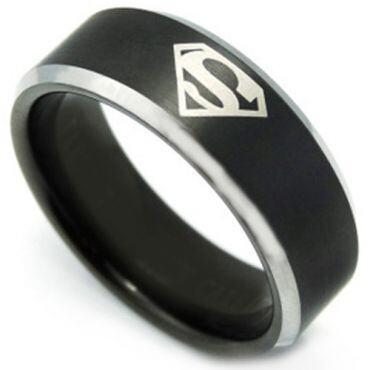 *COI Titanium Black Silver Superman Beveled Edges Ring - 3459