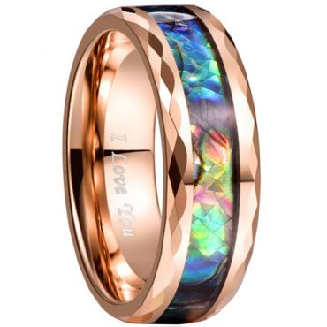 COI Rose Tungsten Carbide Faceted Abalone Shell Ring-3460