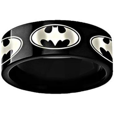 COI Black Titanium Batman Pipe Cut Flat Ring - 3494
