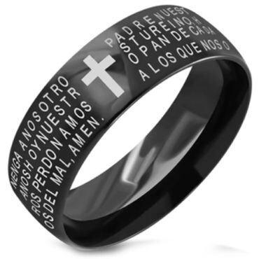 COI Black Titainum Cross Prayer Dome Court Ring - JT3498CC