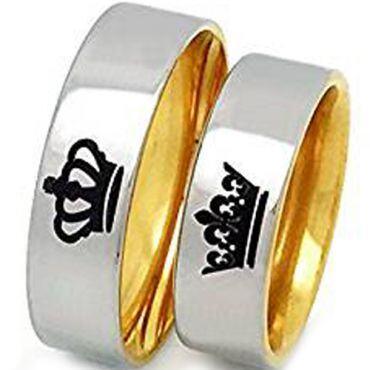 *COI Tungsten Carbide Gold Tone Silver King Queen Crown Ring-3512