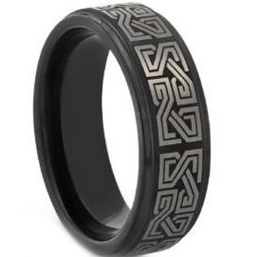 COI Black Tungsten Carbide Celtic Step Edges Ring - TG3546