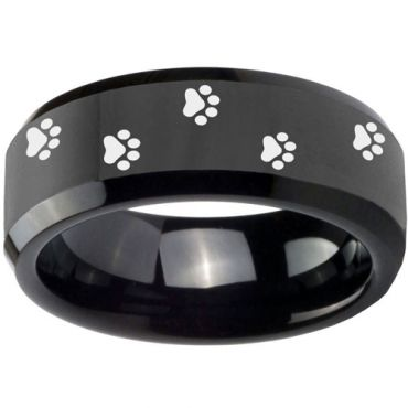 COI Black Tungsten Carbide Paws Print Beveled Edges Ring-TG3550B