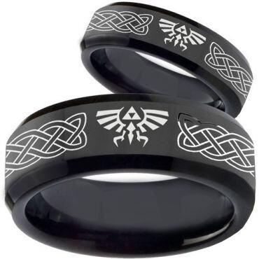 COI Black Tungsten Carbide Legend of Zelda Celtic Ring - TG3561B
