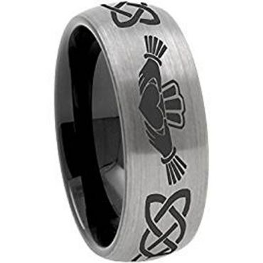 COI Tungsten Carbide Black Silver Mo Anam Cara Ring - TG3571BBB