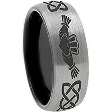 COI Tungsten Carbide Black Silver Mo Anam Cara Ring - TG3571BBB