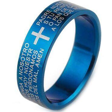 COI Blue Titanium Cross Prayer Pipe Cut Flat Ring - 3573