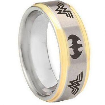 *COI Titanium Gold Tone Silver Batman & Wonder Woman Ring-3574