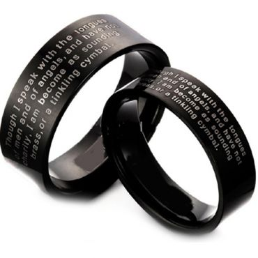 COI Black Tungsten Carbide Ring With Custom Engraving - TG3613