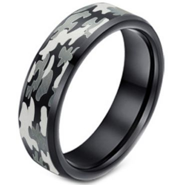 COI Black Tungsten Carbide Camo Pattern Ring - TG3627A