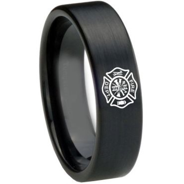 COI Black Tungsten Carbide Firefighter Pipe Cut Ring-3628