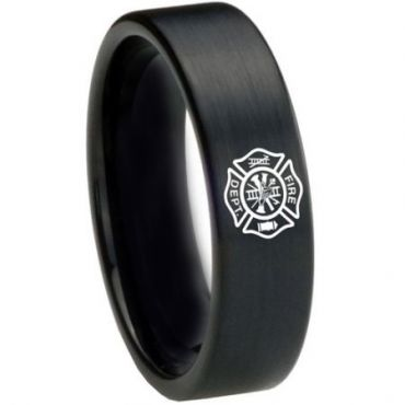 *COI Black Tungsten Carbide Firefighter Pipe Cut Ring-3628