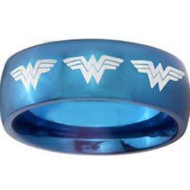 COI Blue Titanium Wonder Woman Dome Court Ring - JT4051