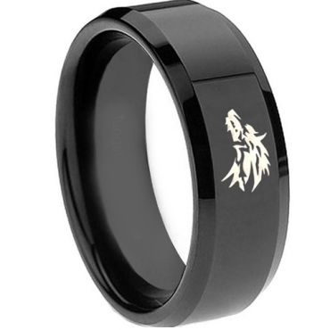 *COI Black Tungsten Carbide Wolf Beveled Edges Ring - TG3688