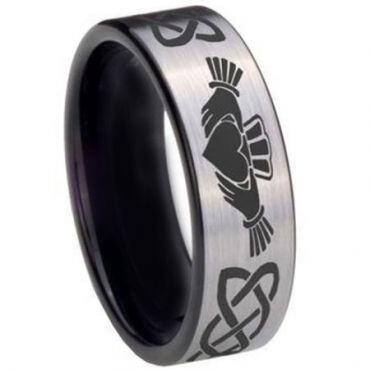 *COI Tungsten Carbide Mo Anam Cara Celtic Ring - 3695