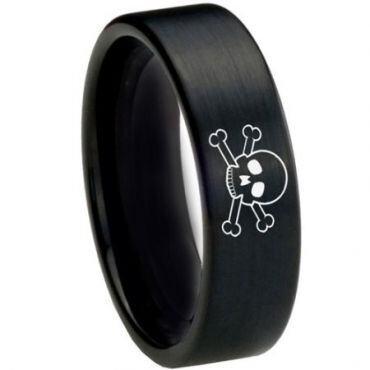COI Black Tungsten Carbide Skull & Bones Ring - 3726