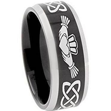 **COI Tungsten Carbide Black Silver Mo Anam Cara Celtic Ring-374