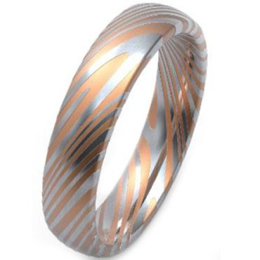 COI Titanium Rose Silver Damascus Dome Court Ring-3752