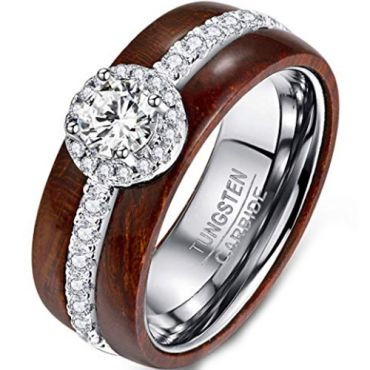 COI Tungsten Carbide Wood Ring With Cubic Zirconia - TG377BB