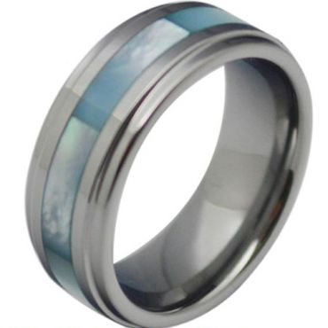 COI Tungsten Carbide Ring With Abalone Shell - TG3792
