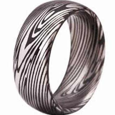 COI Tungsten Carbide Black Silver Damascus Dome Court Ring-3807