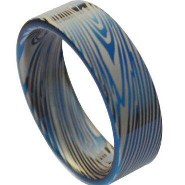 COI Tungsten Carbide Blue Silver Damascus Pipe Cut Ring-TG3823