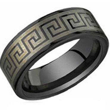 COI Black Tungsten Carbide Greek Key Ring-TG3826