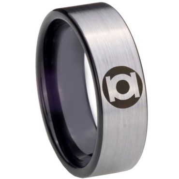 COI Tungsten Carbide Black Silver Green Lantern Ring - 3838