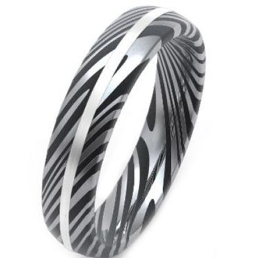COI Tungsten Carbide Black Silver Damascus Dome Court Ring-3859