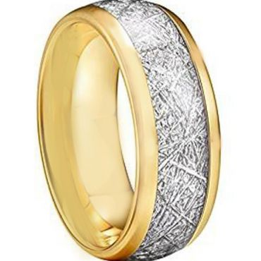 COI Gold Tone Tungsten Carbide Meteorite Ring - TG2593AA