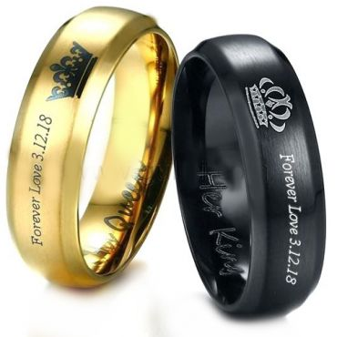 *COI Tungsten Carbide Black/Gold Tone King Queen Crown Ring-3887