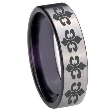 COI Tungsten Carbide Fleur De Lis Pipe Cut Ring - TG3889