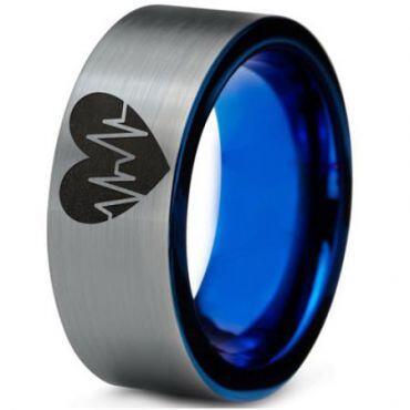 *COI Tungsten Carbide Blue Silver Heartbeat & Heart Ring-388