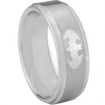 COI Titanium Batman Step Edges Wedding Band Ring - 3890