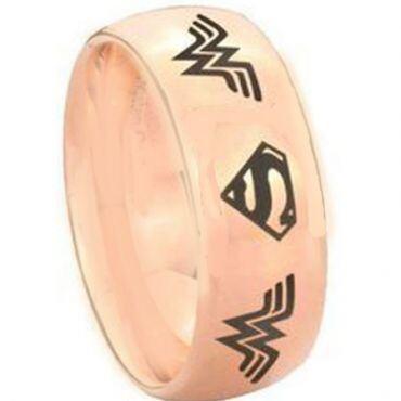 COI Rose Titanium Wonder Woman Superman Dome Court Ring - 3893