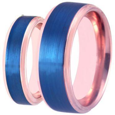 **COI Tungsten Carbide Blue Rose Step Edges Ring-TG3895