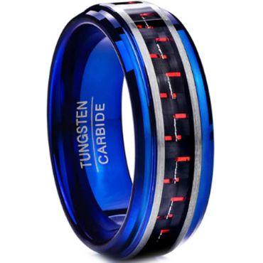 COI Tungsten Carbide Blue Silver Carbon Fiber Ring-TG3898BB
