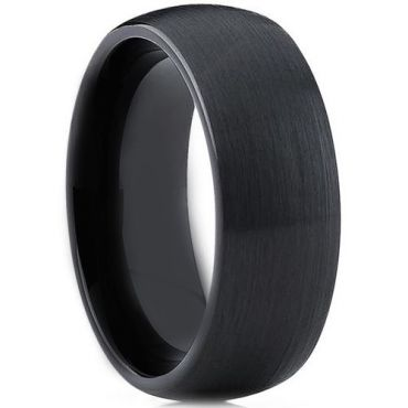 *COI Black Tungsten Carbide Dome Court Ring - TG3903A