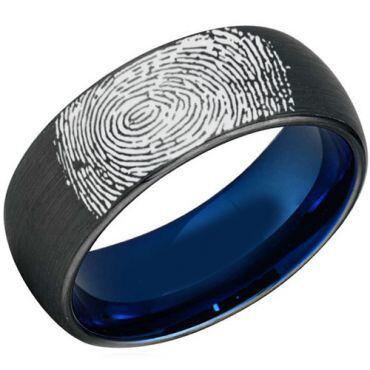 COI Titanium Black Blue Ring With Custom Finger Print-JT3907