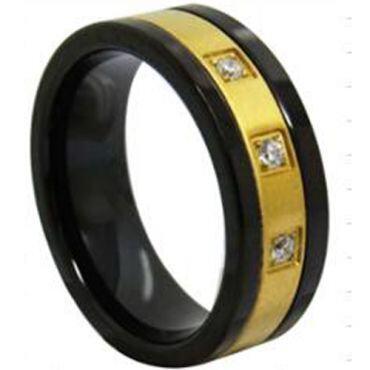 COI Titanium Black Gold Ring With Cubic Zirconia - 3942