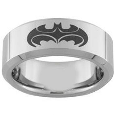 COI Titanium Batman & Robin Pipe Cut Flat Ring - 3957