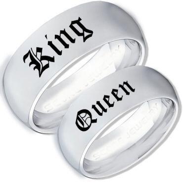 *COI Tungsten Carbide King Queen Dome Court Ring-TG3964