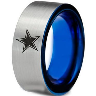 COI Tungsten Carbide Blue Silver Star Ring - TG3965