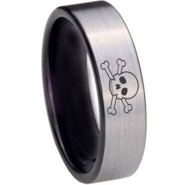 COI Tungsten Carbide Skull & Bones Pipe Cut Ring - 3973