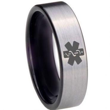 COI Tungsten Carbide Medic Alert Pipe Cut Ring - 3975