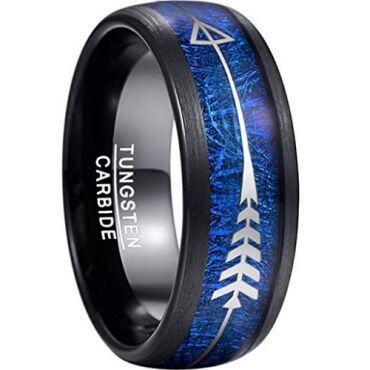 COI Black Tungsten Carbide Meteorite Ring With Arrows-TG3978