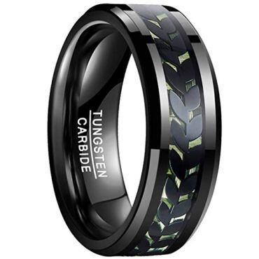 COI Black Tungsten Carbide Ring With Carbon Fiber - TG4015
