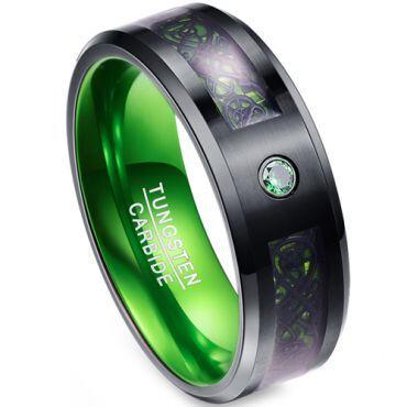COI Tungsten Carbide Black Green Dragon Zirconia Ring-4017