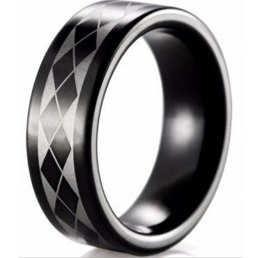 COI Black Tungsten Carbide Checkered Flag Pipe Cut Ring-TG4025