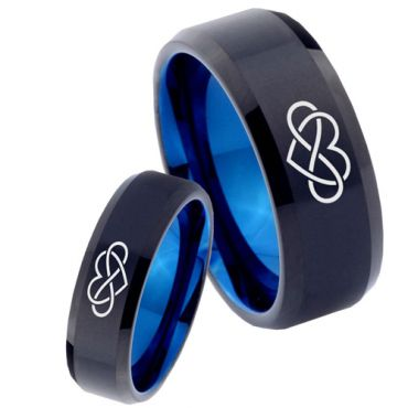 *COI Tungsten Carbide Black Blue Infinity Heart Ring - 4035